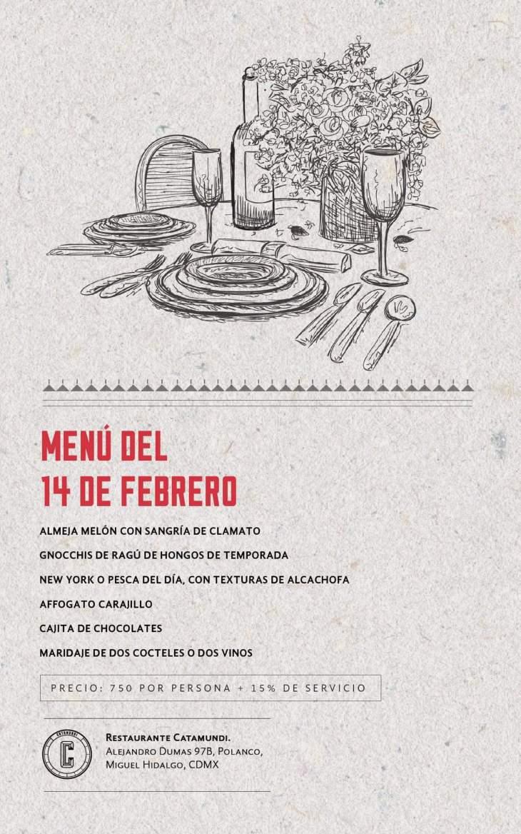 Menú 14 de febrero Restaurante Catamundi